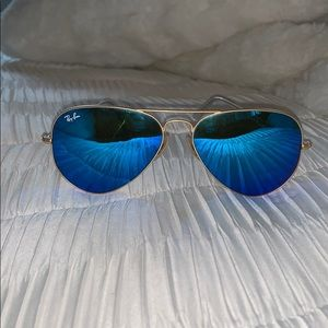 Ray-Ban Gold Aviator Sunglasses with Blue Lenses